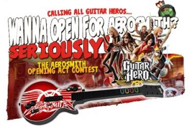 Concurso Guitar Hero. A la guitarra le falta la tecla naranja.
