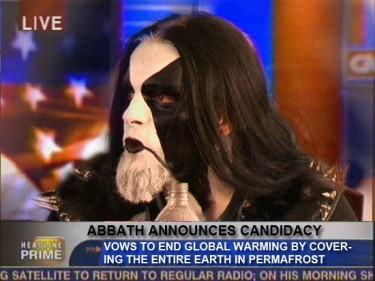 Abbath presentando su candidatura a la presidencia
