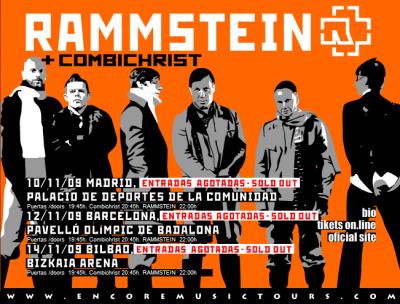 Cartel de la gira de Rammstein y Combichrist