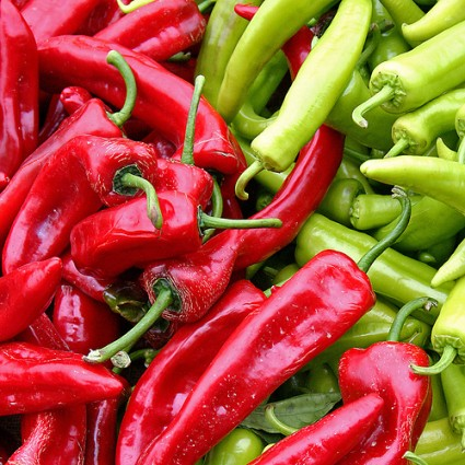 Red And Green Cold Chili Peppers