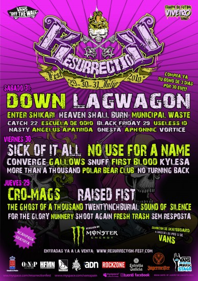 Cartel final del Resurrection Fest 2010