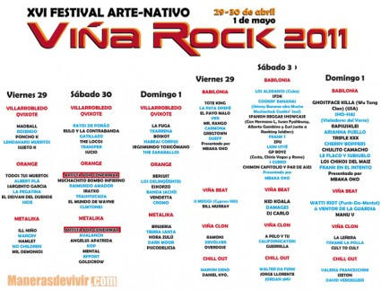 Cartel del Viña Rock 2011