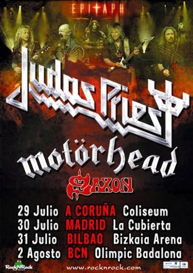 Cartel de Judas Priest, Motörhead y Saxon
