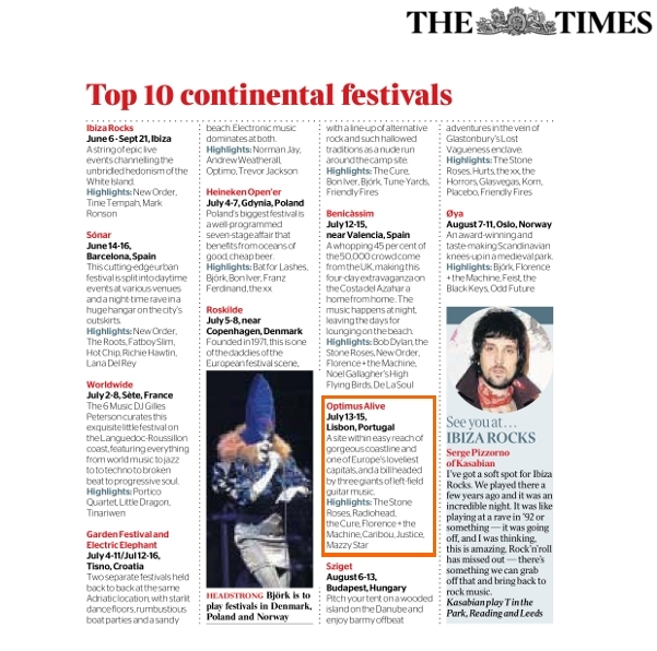 The Times - Festivales