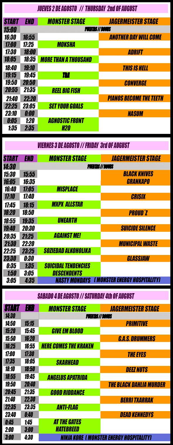 Resurrection Fest 2012 - Horarios