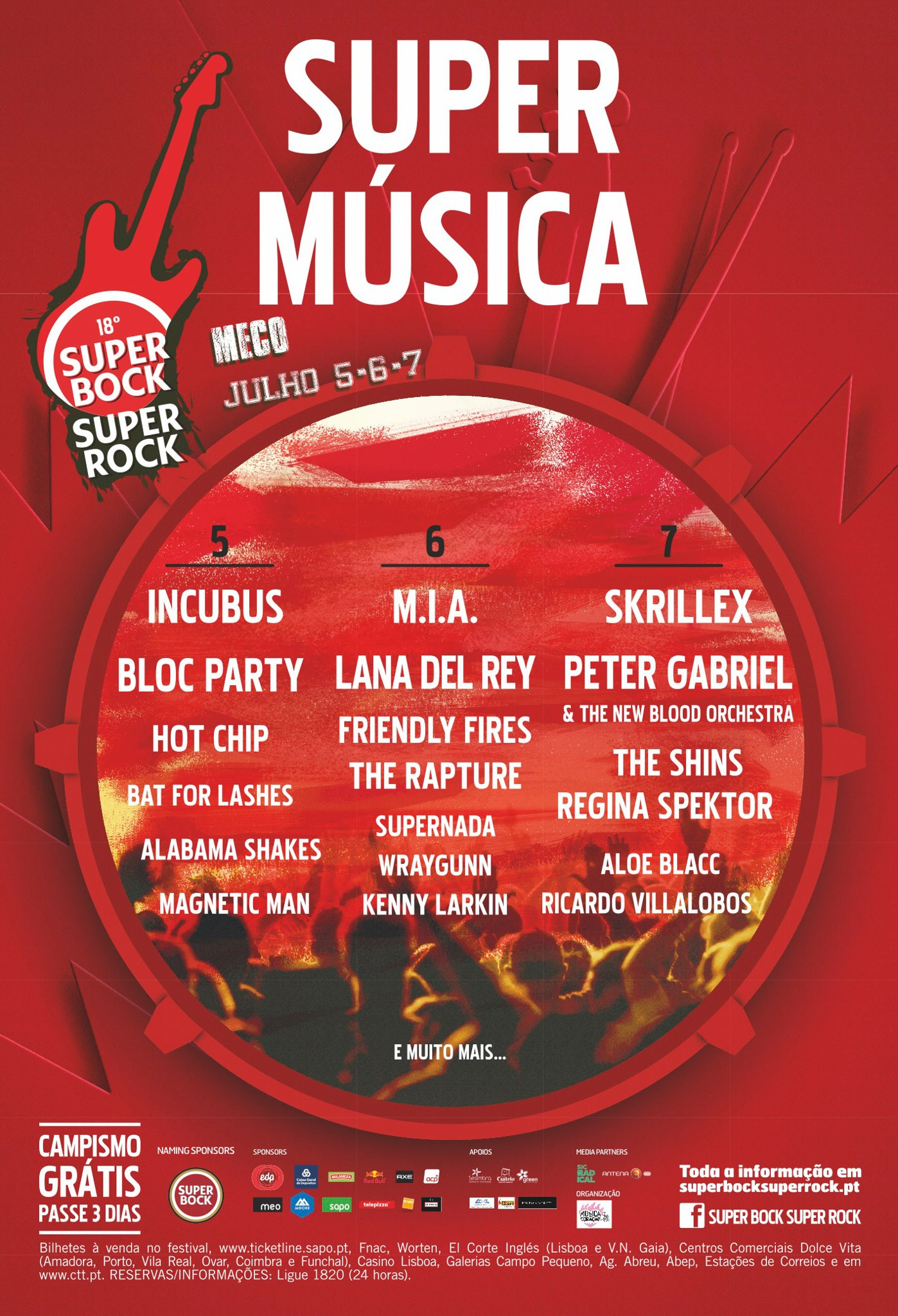 Cartel del Super Bock Super Rock 2012
