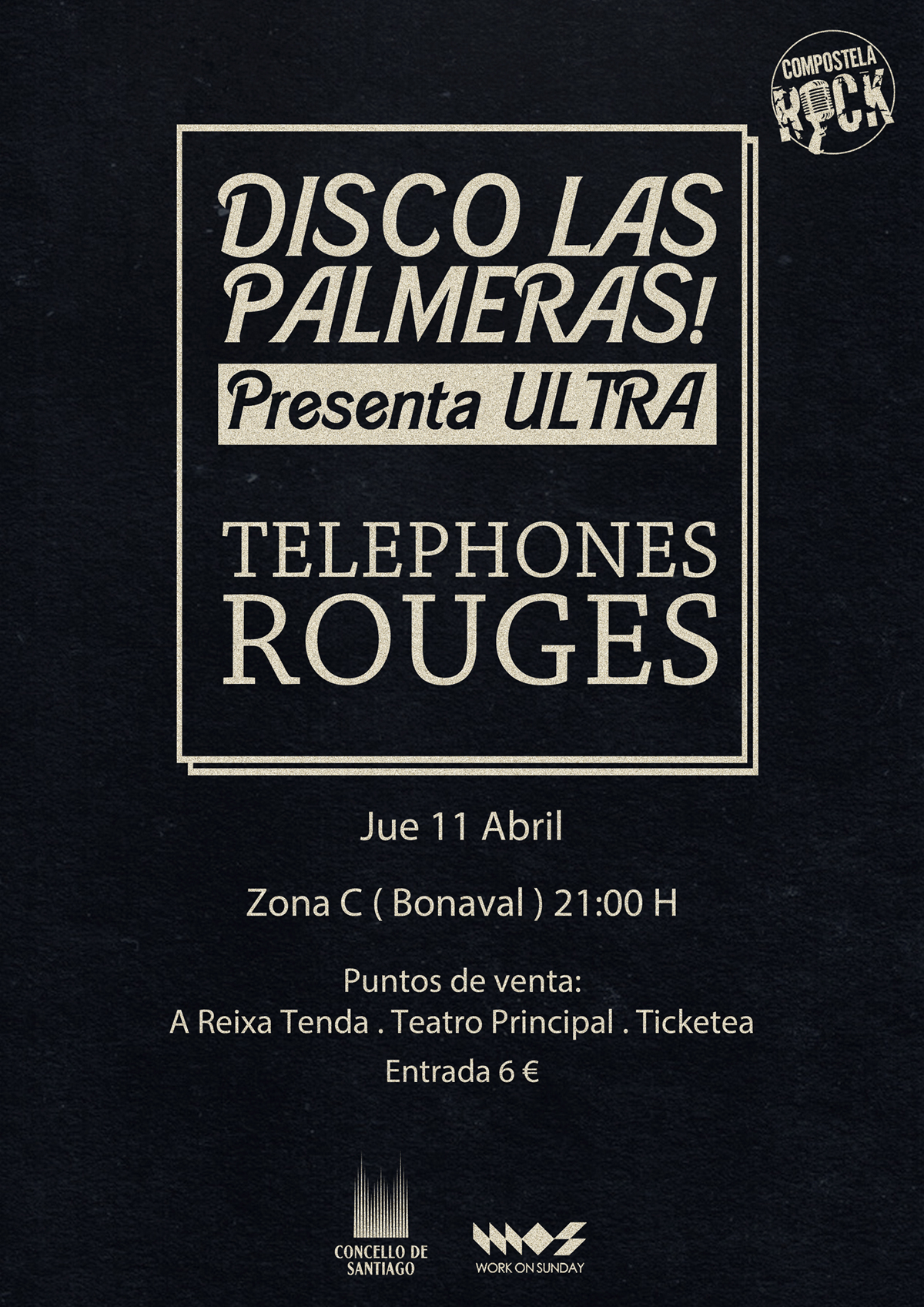 Cartel Disco Las Palmeras Telephones Rouges
